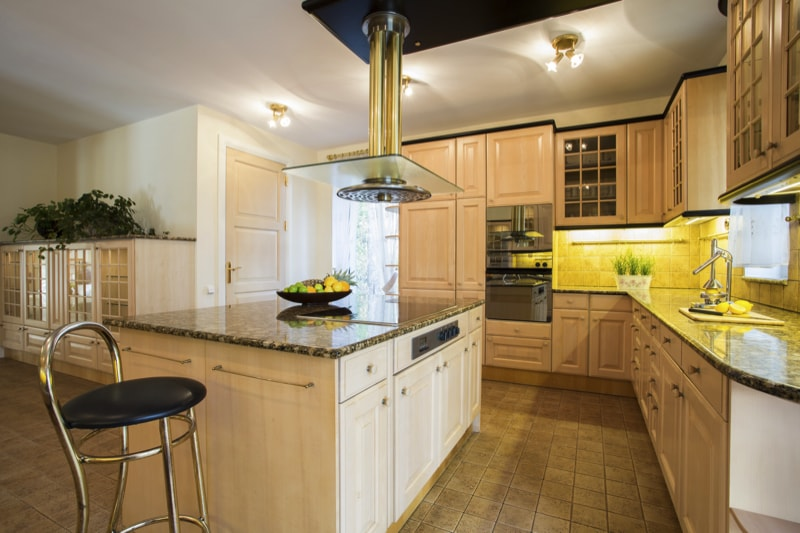 Well designed kitchen island In designer Kitchen.