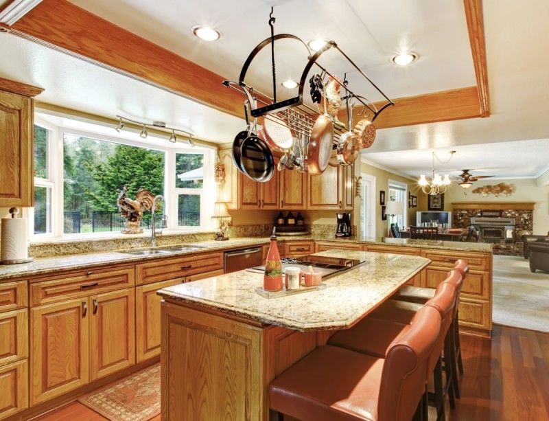Living and dining room. Open wall design idea min e1443807728749 - Kitchen Pot Shelves and Hanging Pot and Pans