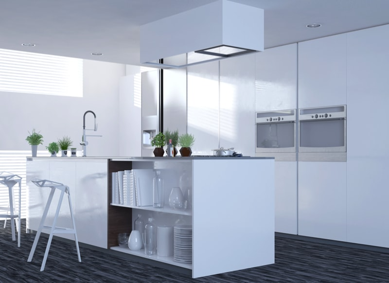 A very contemporary crisp white kitchen interior