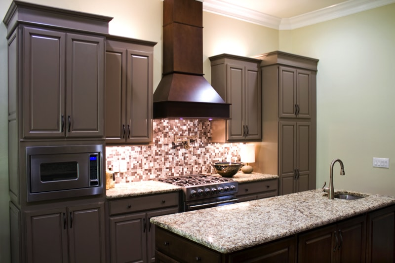 New modern luxury kitchen cabinets with granite countertops