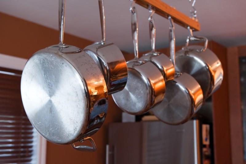 Pans hanging min e1443807282193 - Kitchen Pot Shelves and Hanging Pot and Pans