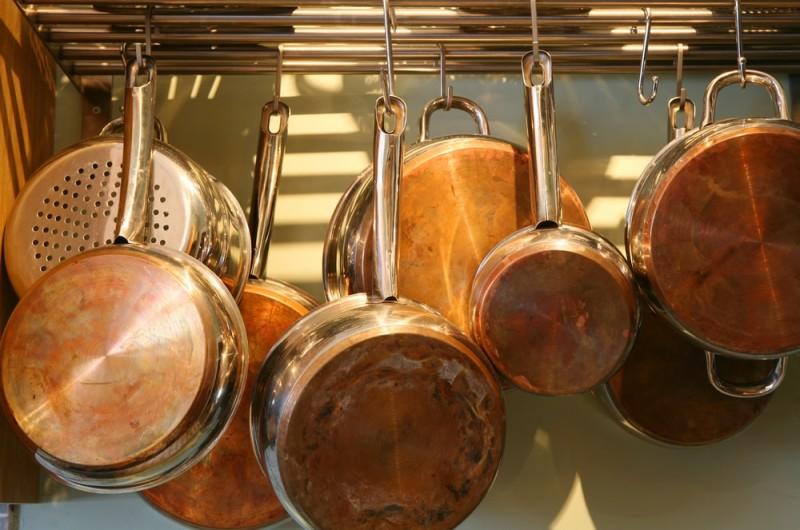 Pots and Pans min e1443807217881 - Kitchen Pot Shelves and Hanging Pot and Pans