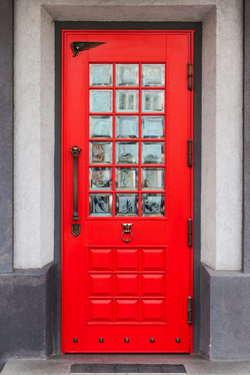 Red front doors for homes - Beautiful Bright Red Front Home Door