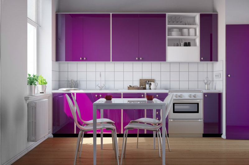 Small kitchen with purple cabinets