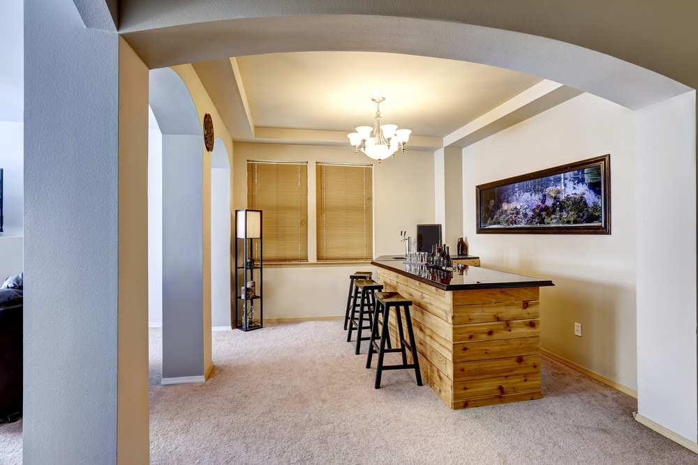 Soft ivory bar room with built in the wall aquarium min - Home Bar Pictures and Home Wine Storage