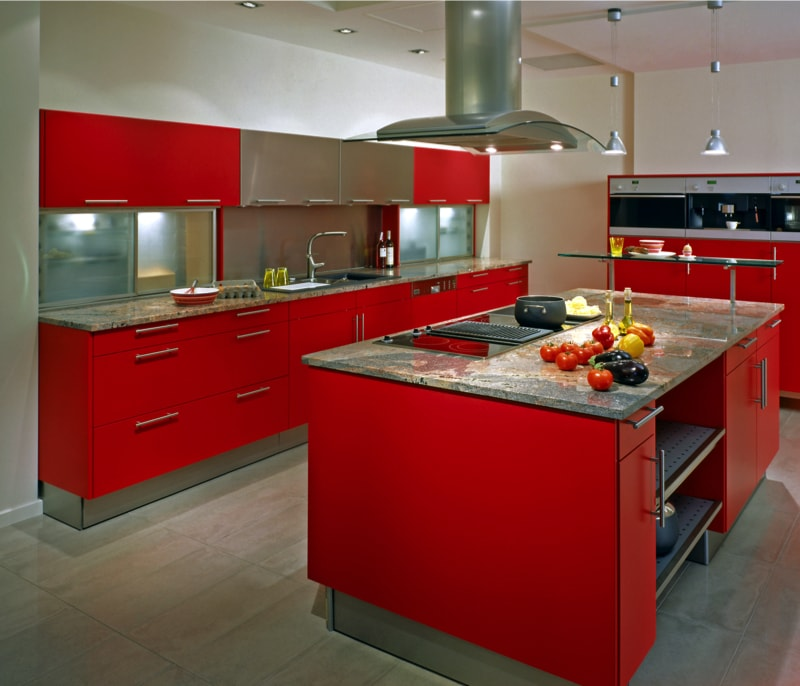 Modern Kitchen With Red Cupboa 18835397 Min   145 Beautiful Luxury Kitchen  Design Ideas (Part