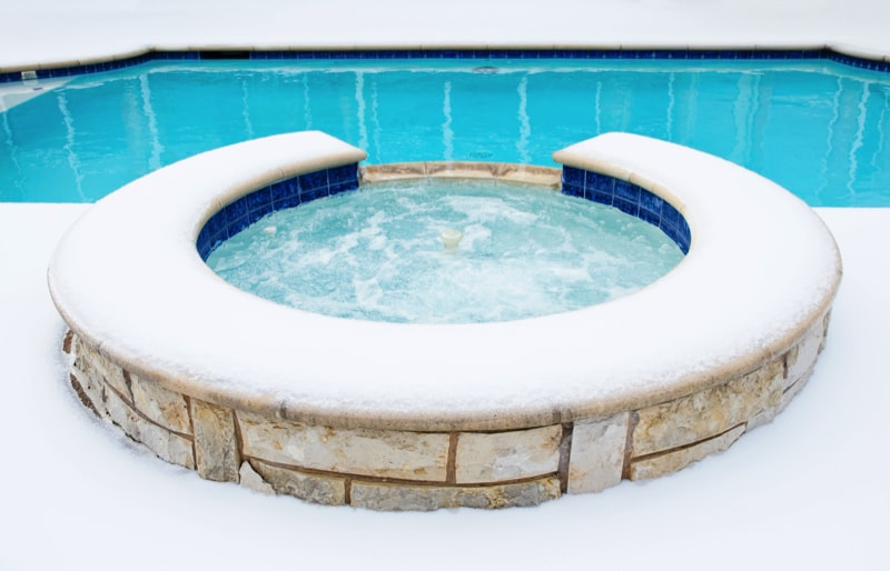 A Hot tub spa in the winter 55192571 min - 27 Home Hot Tubs and Spa Pools