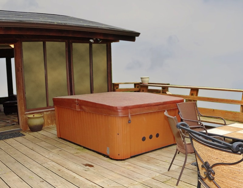 A hot tub and tables high up with a sky view. min - 27 Home Hot Tubs and Spa Pools