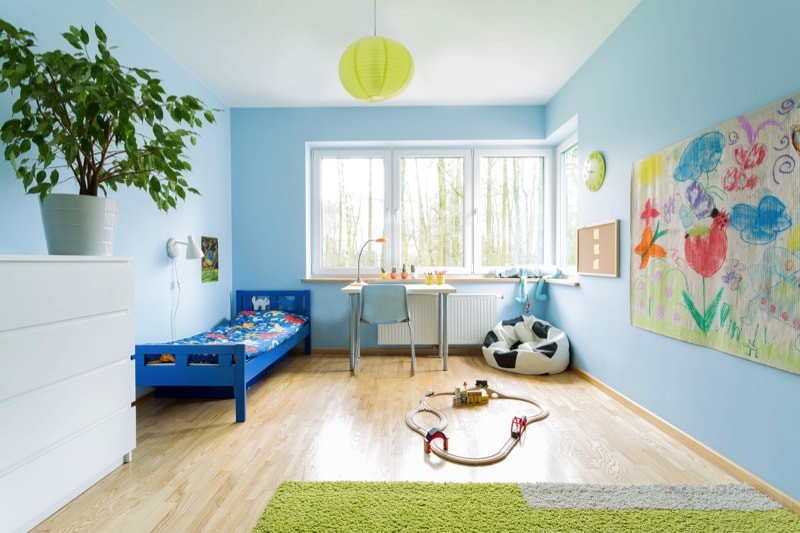 Stylish designed interior of small childrens room
