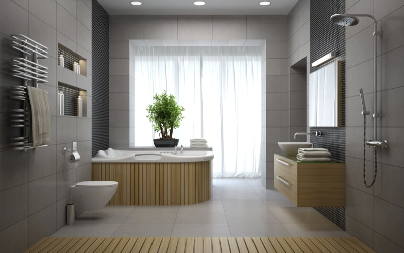 Modern Bathroom With Wooden Lined Bathtub And Open Free Standing Shower