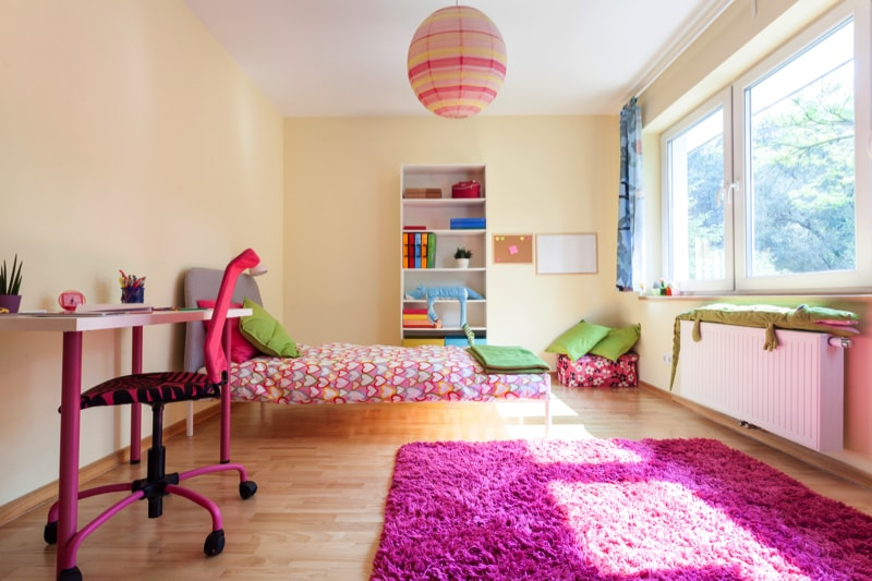Pretty pink Modern Room interior for a Girl.