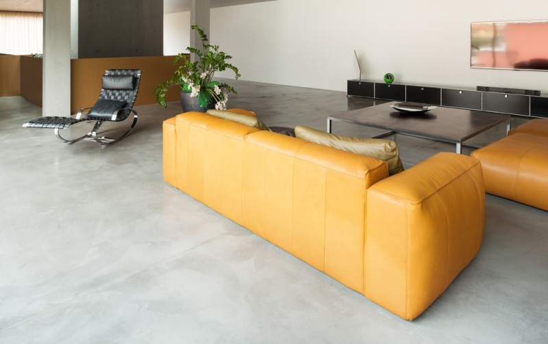 Mustard Yellow Leather Sofas With Black Leather Recliner
