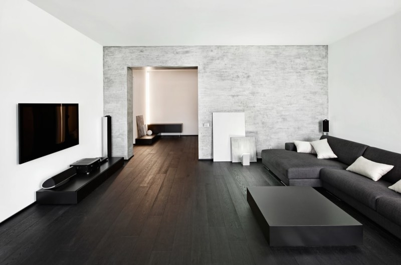 This living room displays a modern minimalism style with dark brown ...