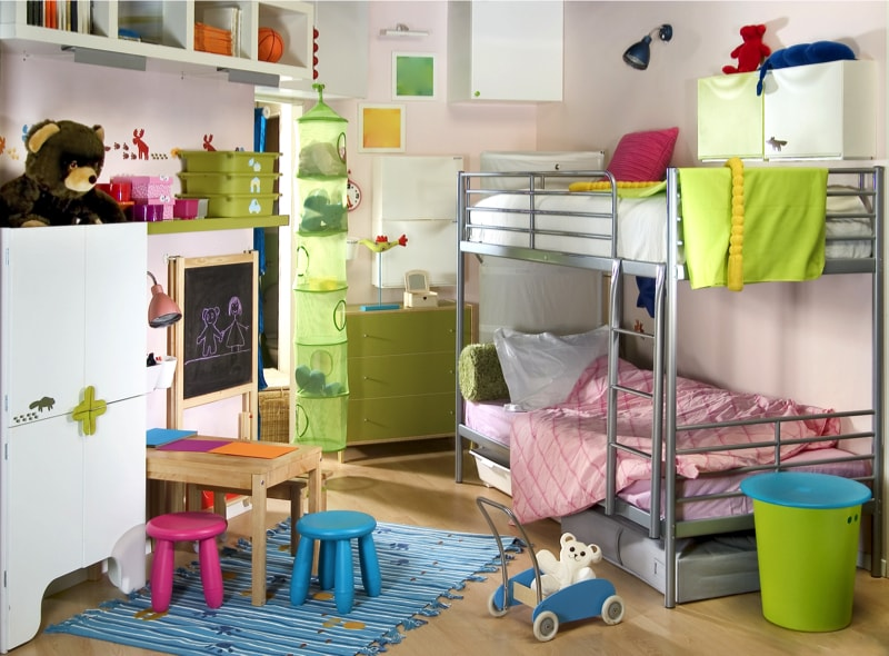 Decorating Ideas For Kids Bedrooms with this Child's room with silver coloured bunk beds