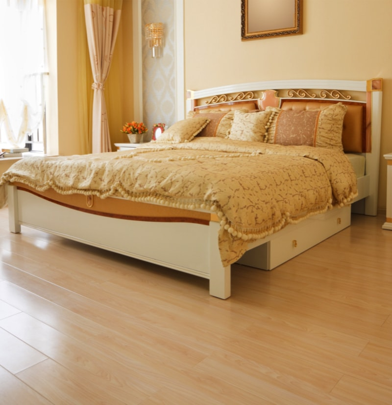 Luxurious And Expensive Bedroom With Light Colored Hardwood Timber Floor