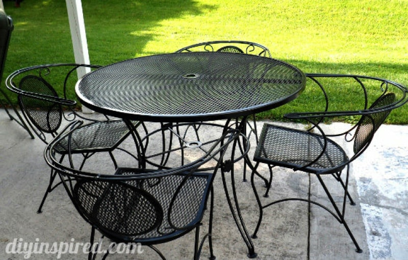 Outdoor Metal Table and Chairs on a Patio