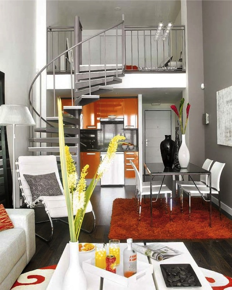 Compact two level apartment with maximum use of limited space
