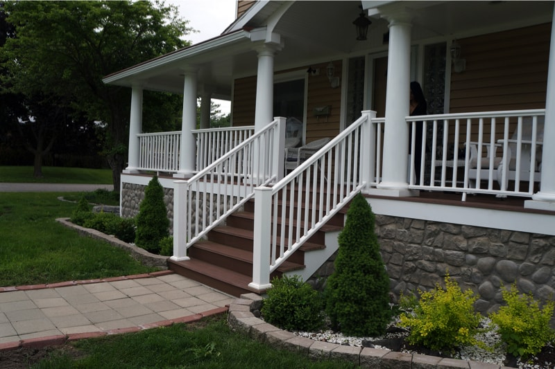 The front steps of a Victorian home in Harbor Springs, Michigan