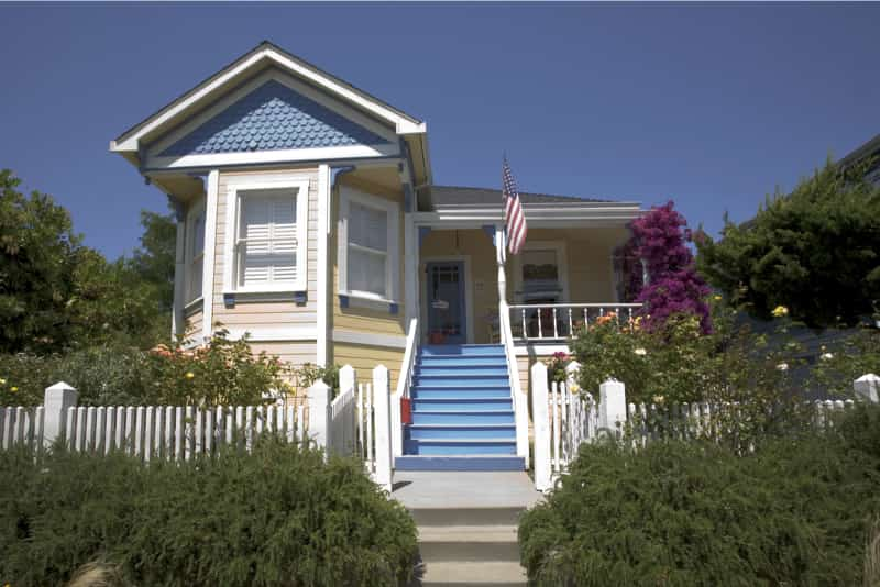 Front Entrance Steps to Houses -Victorian home with blue steps