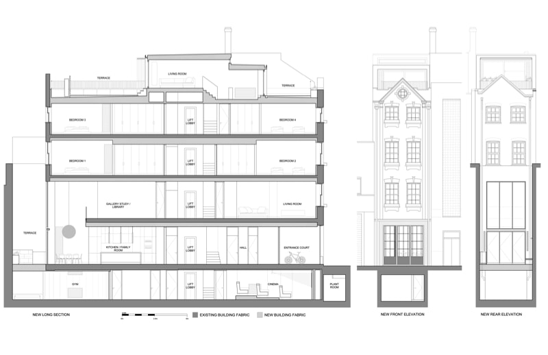 Form Studio NarrowHouse Prop Sections Elevs min - Narrow House Makeover, Covent Garden, London UK by FORMstudio