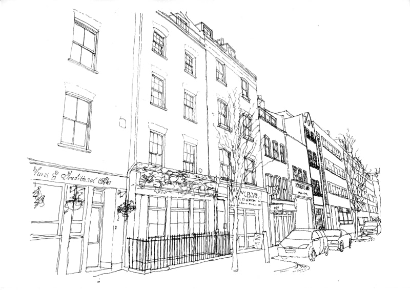 Form Studio NarrowHouse Street sketch min - Narrow House Makeover, Covent Garden, London UK by FORMstudio