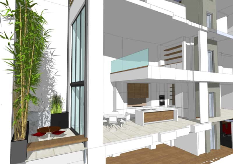 Form Studio NarrowHouse courtyard kitchen sc27 min - Narrow House Makeover, Covent Garden, London UK by FORMstudio