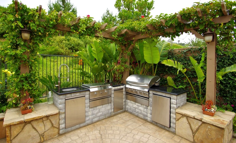 Backyard BBQ grill Beautiful backyard with a BBQ grill with stone counter top