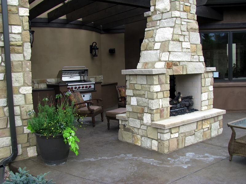 Patio Fireplace An Outdoor Fireplace On The Back Patio With Chairs And A  Grill Great For