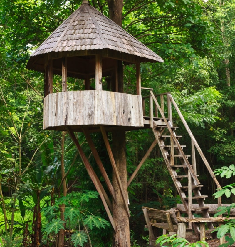 Playhouses and huts in the trees for Kids wooden treehouse