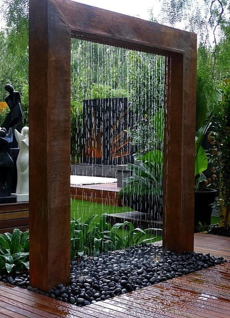 Outdoor Water Features -beautiful Shower structure waterfall from viralnova
