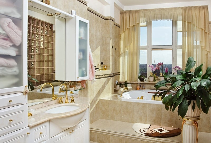 Gold bathroom interior in romantic style - Modern Bathroom Design Ideas