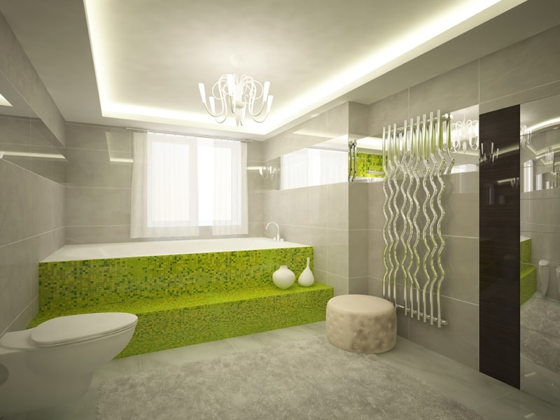 elegant Modern green Bathroom interior - Modern Bathroom Design Ideas