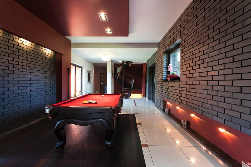 Snooker Table In Luxury Interi 52702336 - Home Basement Decorating Ideas