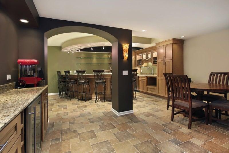 bigstock Lower level basement with bar 112009493 - Home Basement Decorating Ideas
