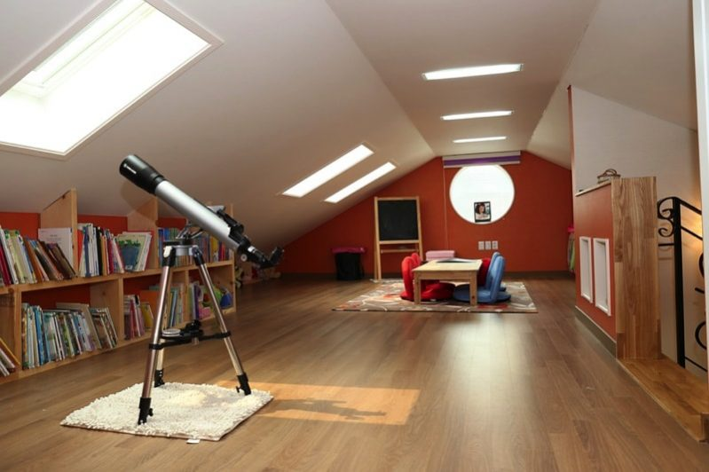 Rumpus room in an attic