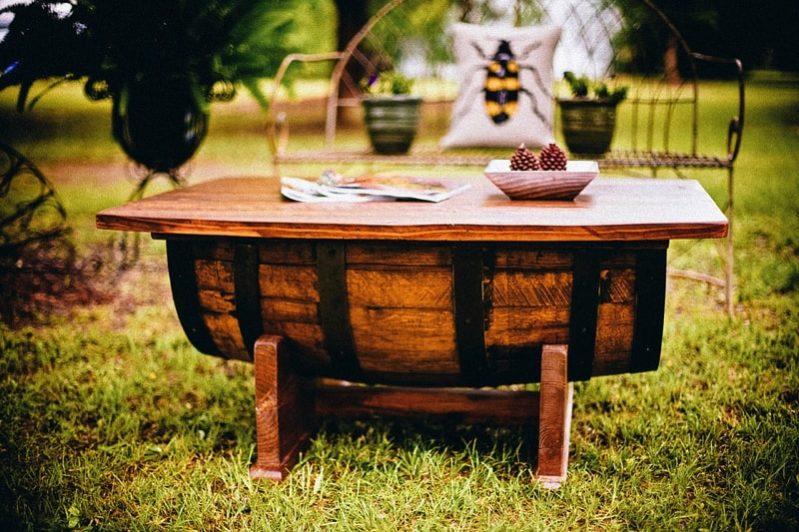 Custom made outside table from wine barrel