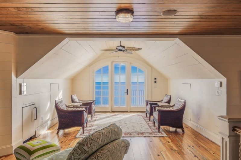 Living room in attic space