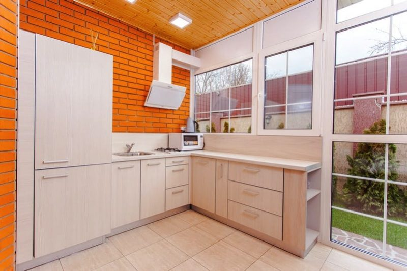 Kitchen with brick feature