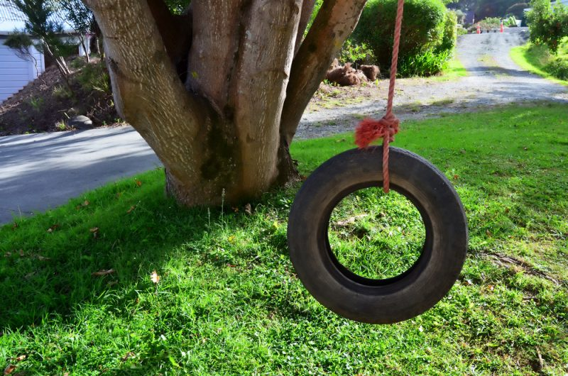 Car tire used as a swing on a tree in the garden e1500699004700 - Childrens' Outdoor Play Equipment