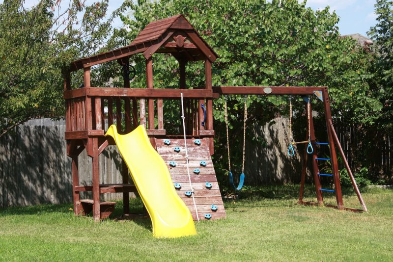 backyard play area e1500698830754 - Childrens' Outdoor Play Equipment
