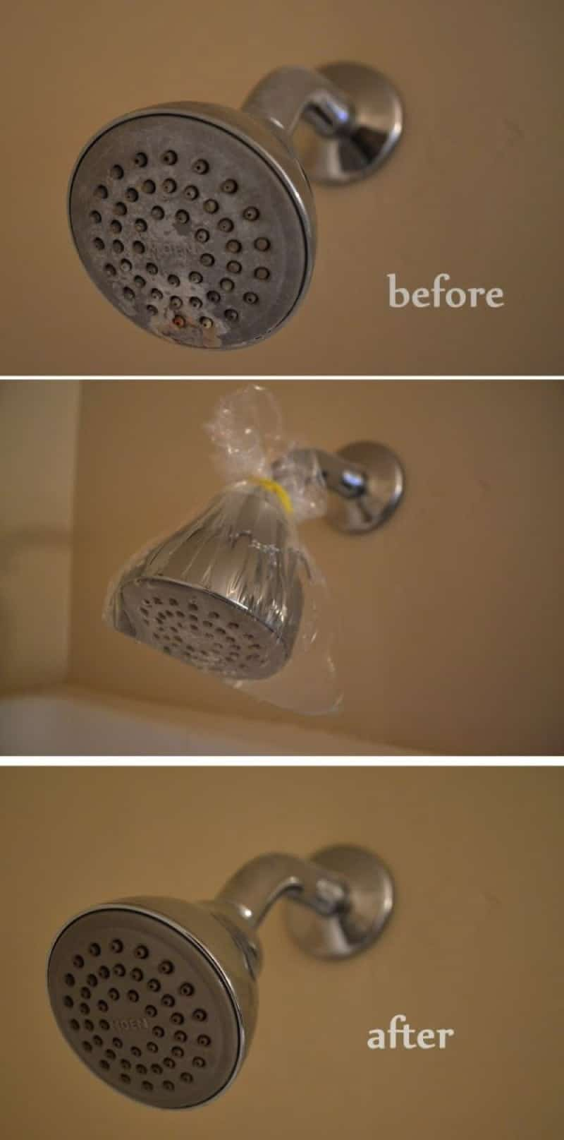 clean shower head 800 min - 23 DIY Ideas To Clean Up Your Home