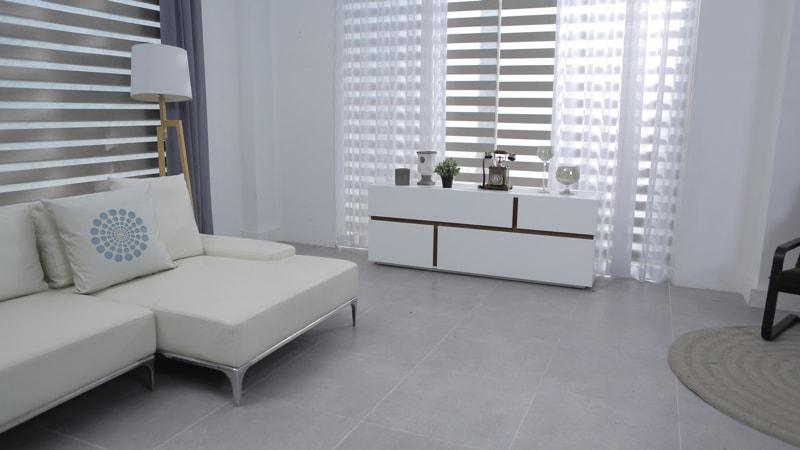 minimalist living room with tile floor - Living Room Decorating Ideas