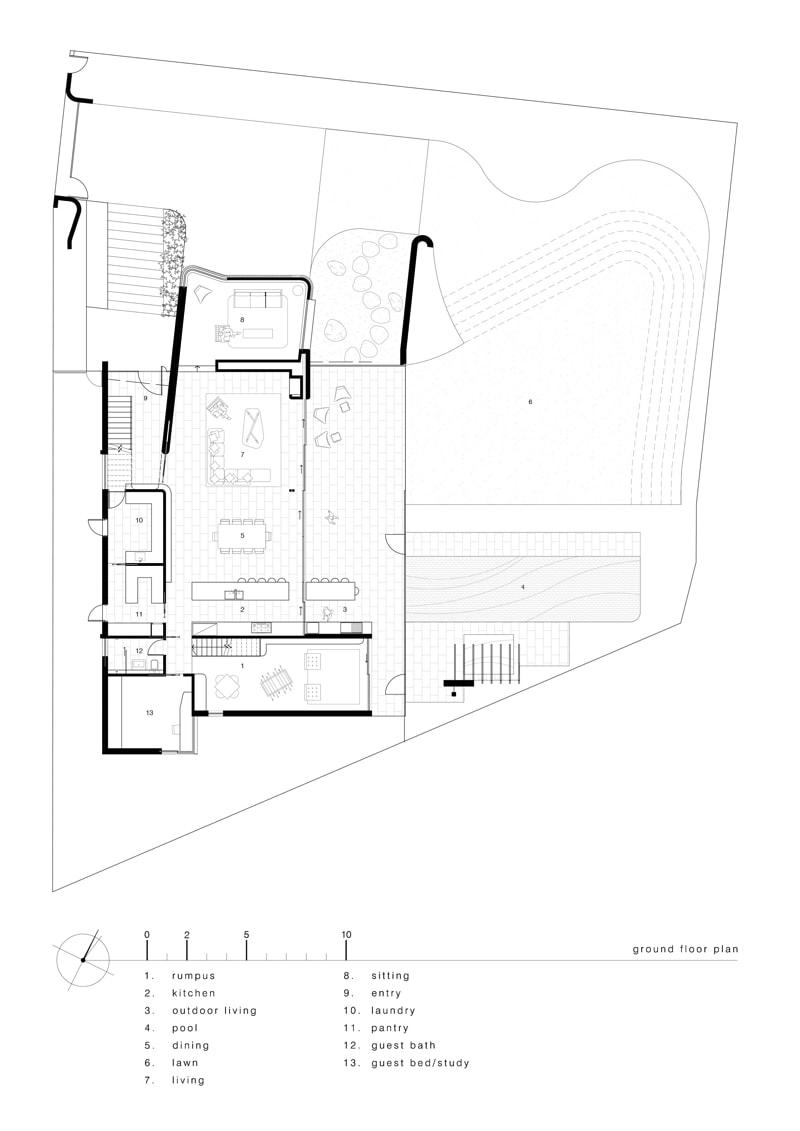 luigi rosselli architects sticks and stones house ground floor plan - Sticks & Stones Home Sydney Australia by Luigi Rosselli Architects