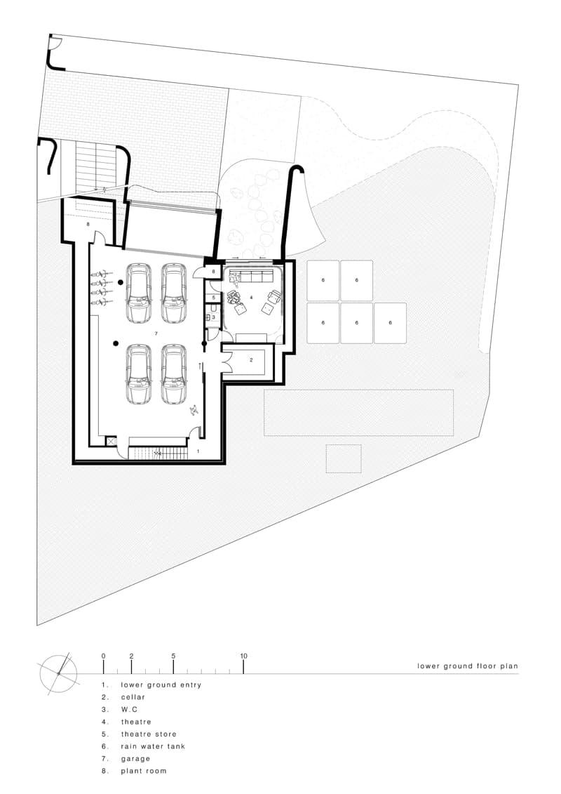 luigi rosselli architects sticks and stones house lower ground floor plan - Sticks & Stones Home Sydney Australia by Luigi Rosselli Architects